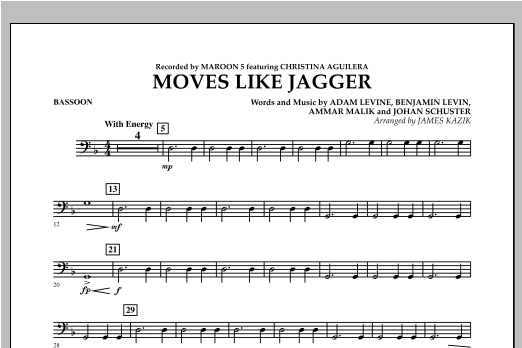 Moves Like Jagger - Bassoon Sheet Music