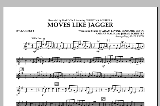 Moves Like Jagger - Bb Clarinet 1 Sheet Music