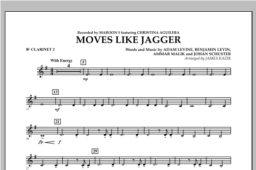 Moves Like Jagger - Bb Clarinet 2 Sheet Music