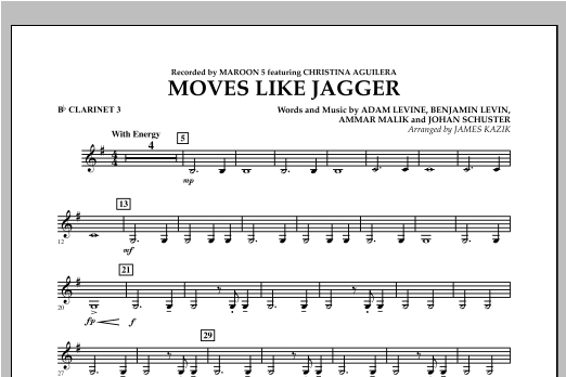 Moves Like Jagger - Bb Clarinet 3 Sheet Music