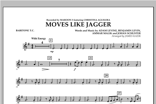 Moves Like Jagger - Baritone T.C. Digitale Noten