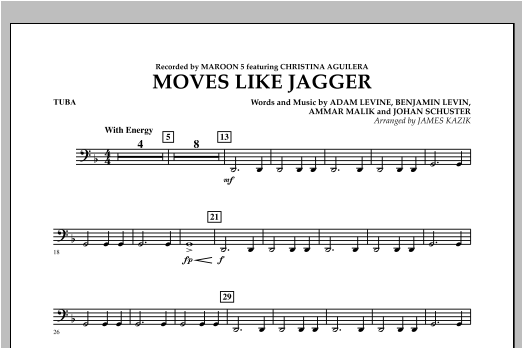 Moves Like Jagger - Tuba Sheet Music