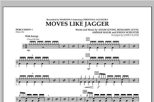Moves Like Jagger - Percussion 1 Sheet Music