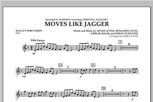 Moves Like Jagger - Mallet Percussion Sheet Music