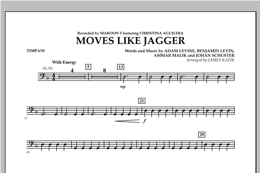 Moves Like Jagger - Timpani Sheet Music