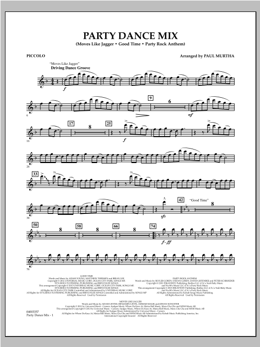 Party Dance Mix - Piccolo Sheet Music