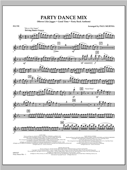 Party Dance Mix - Flute Sheet Music