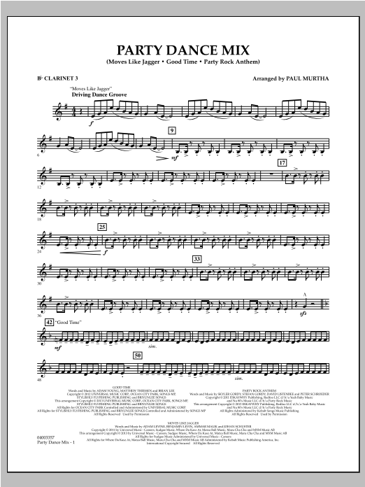Party Dance Mix - Bb Clarinet 3 Sheet Music