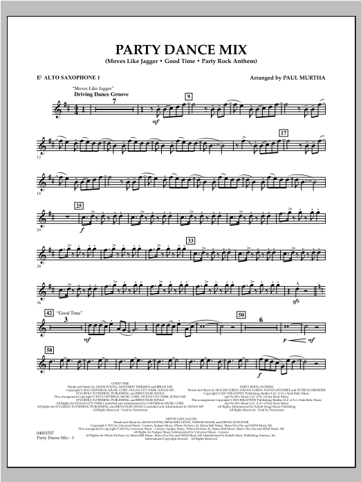 Party Dance Mix - Eb Alto Saxophone 1 Sheet Music