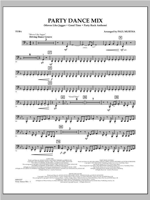 Party Dance Mix - Tuba Sheet Music