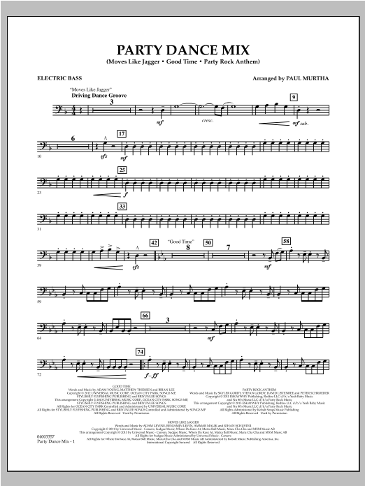 Party Dance Mix - Electric Bass Sheet Music