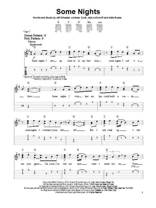 Some Nights (Easy Guitar Tab)