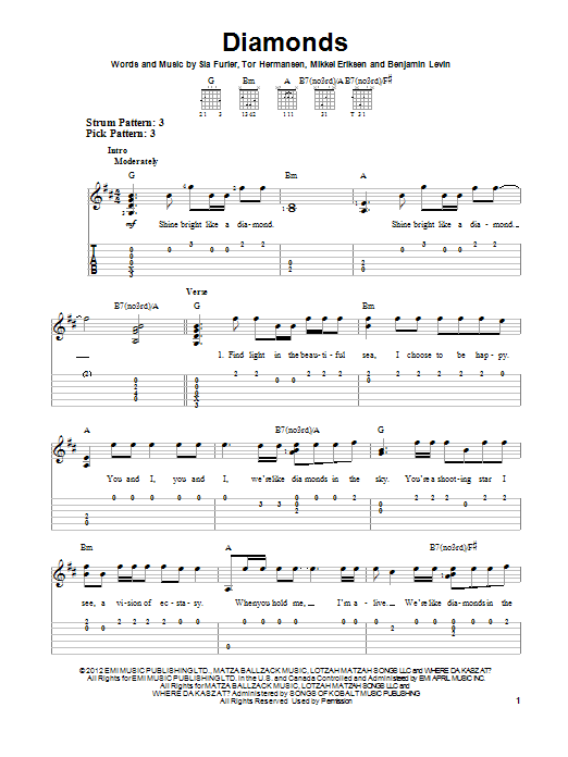 Piano piano tabs to stay by rihanna : Diamonds sheet music by Rihanna (Easy Guitar Tab – 95591)