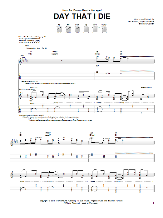 Tablature guitare Day That I Die de Zac Brown Band - Tablature Guitare