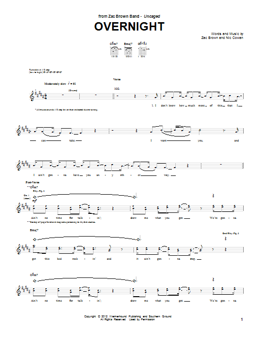 Tablature guitare Overnight de Zac Brown Band - Tablature Guitare