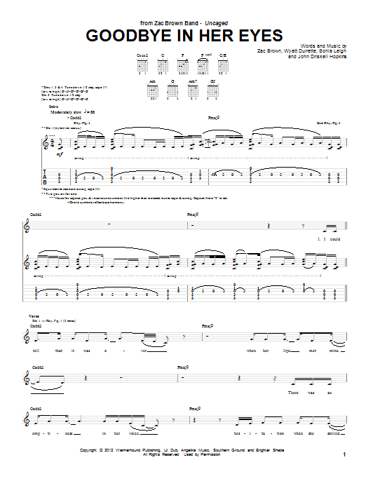 Tablature guitare Goodbye In Her Eyes de Zac Brown Band - Tablature Guitare