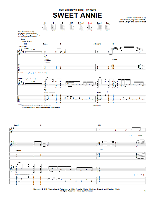Sweet Annie Guitar Tab by Zac Brown Band (Guitar Tab – 95696)
