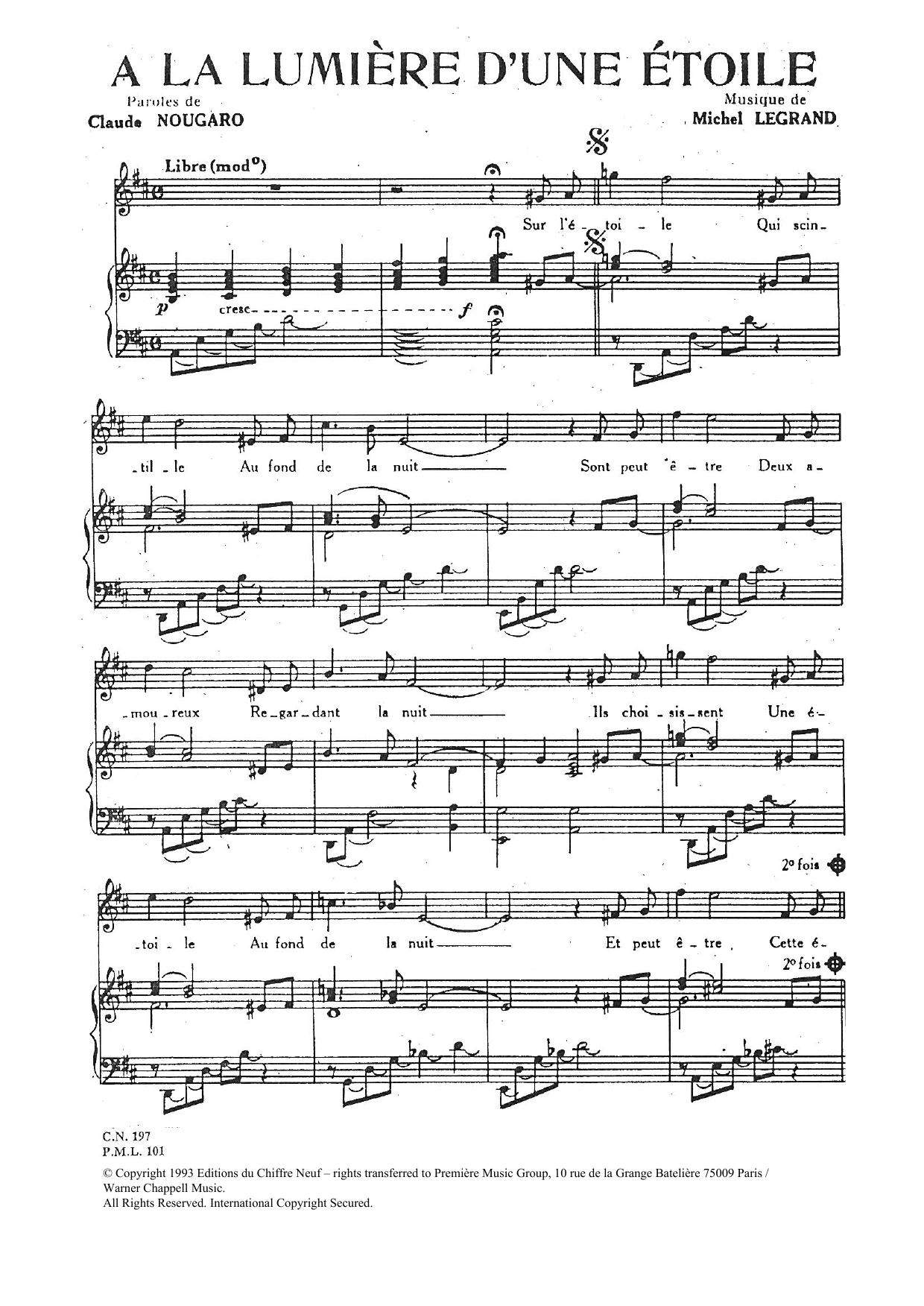 A La Lumiere D'une Etoile Sheet Music