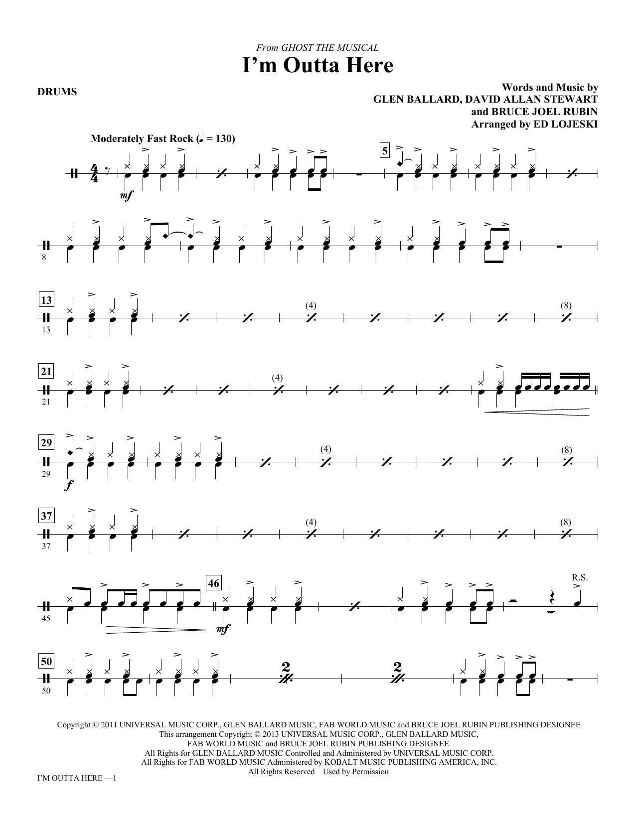 I'm Outta Here - Drums Sheet Music