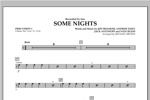 Some Nights - Percussion 2 Sheet Music