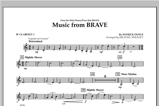 Music From Brave - Bb Clarinet 1 Sheet Music