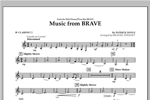 Music From Brave - Bb Clarinet 2 Sheet Music
