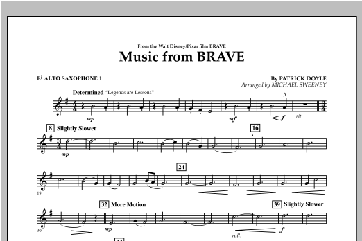 Music From Brave - Eb Alto Saxophone 1 Sheet Music