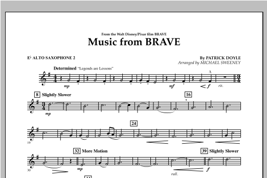 Music From Brave - Eb Alto Saxophone 2 Sheet Music