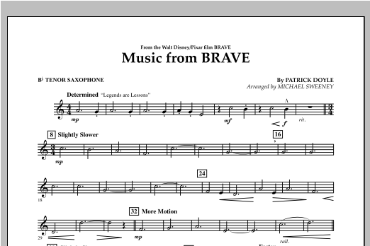 Music From Brave - Bb Tenor Saxophone Sheet Music