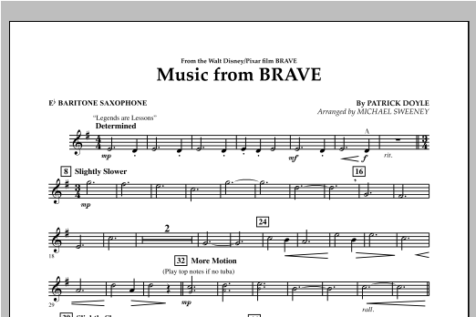 Music From Brave - Eb Baritone Saxophone Sheet Music