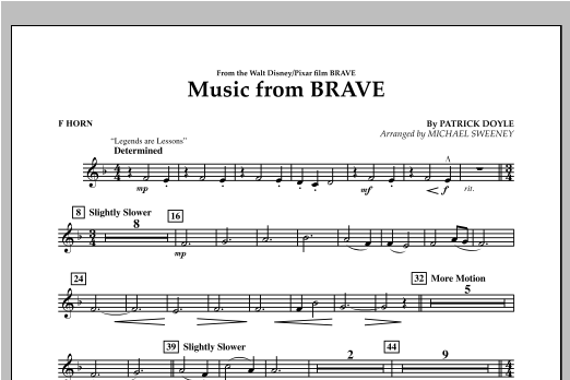 Music From Brave - F Horn Sheet Music