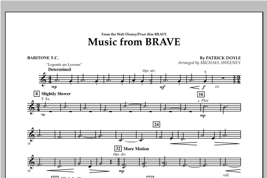 Music From Brave - Baritone T.C. Sheet Music