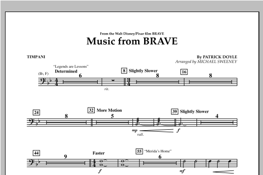 Music From Brave - Timpani Sheet Music