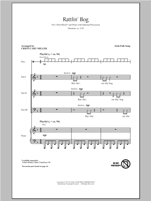 Rattlin' Bog (arr. Cristi Cary Miller) Sheet Music