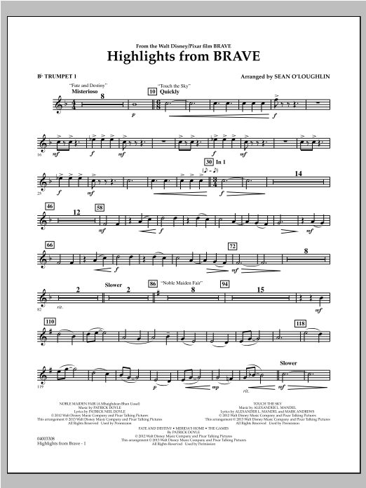 Highlights From Brave - Bb Trumpet 1 Sheet Music