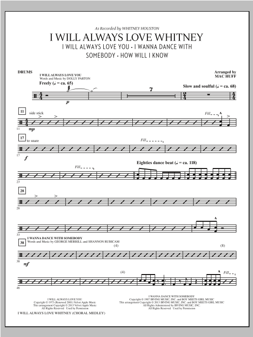I Will Always Love Whitney - Drums Sheet Music