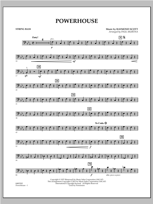 Powerhouse - String Bass Sheet Music