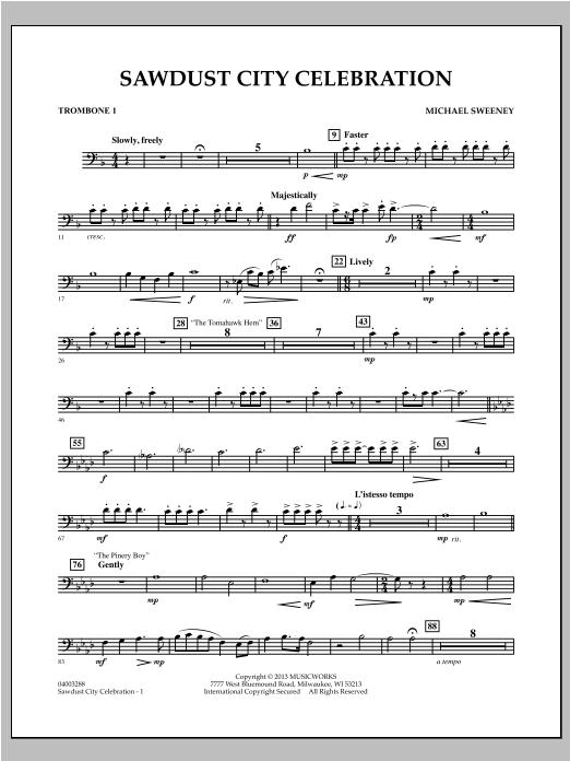 Sawdust City Celebration - Trombone 1 Sheet Music