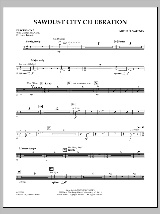 Sawdust City Celebration - Percussion 2 Sheet Music