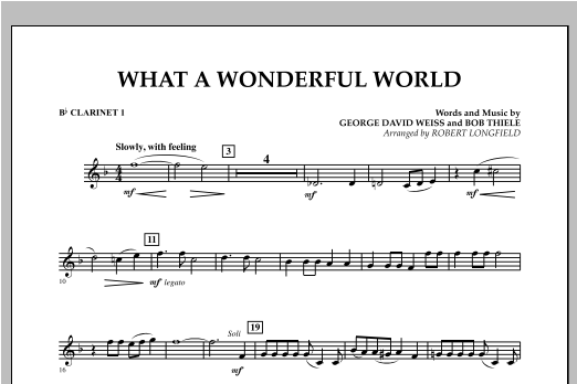 What A Wonderful World - Bb Clarinet 1 Sheet Music