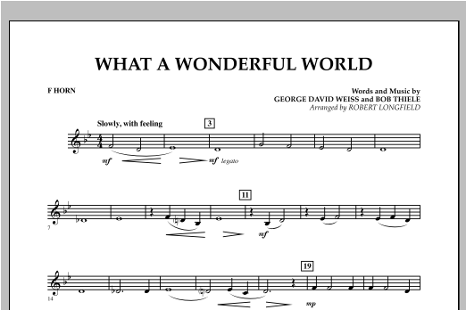 What A Wonderful World - F Horn Partituras Digitales