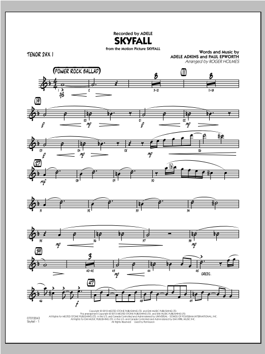 Skyfall - Tenor Sax 1 Sheet Music