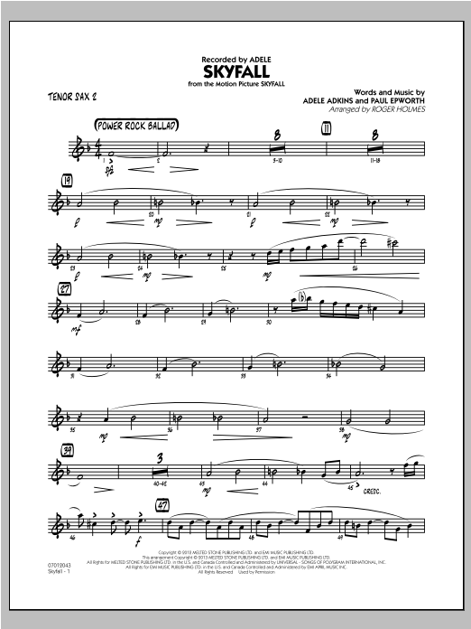Skyfall - Tenor Sax 2 Sheet Music