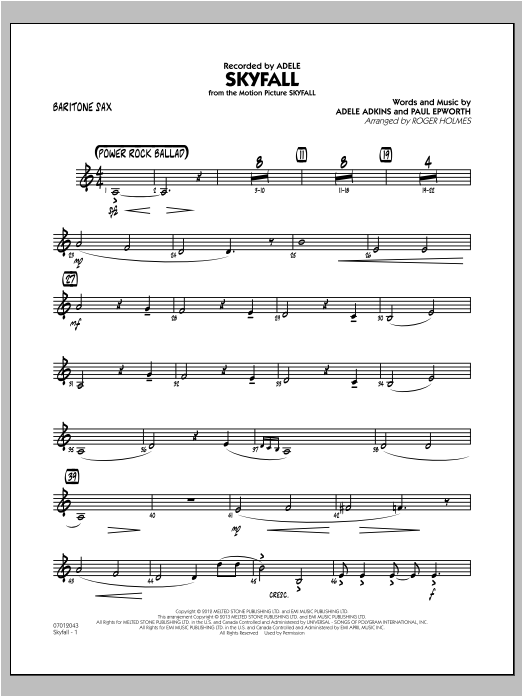 Skyfall - Baritone Sax Sheet Music