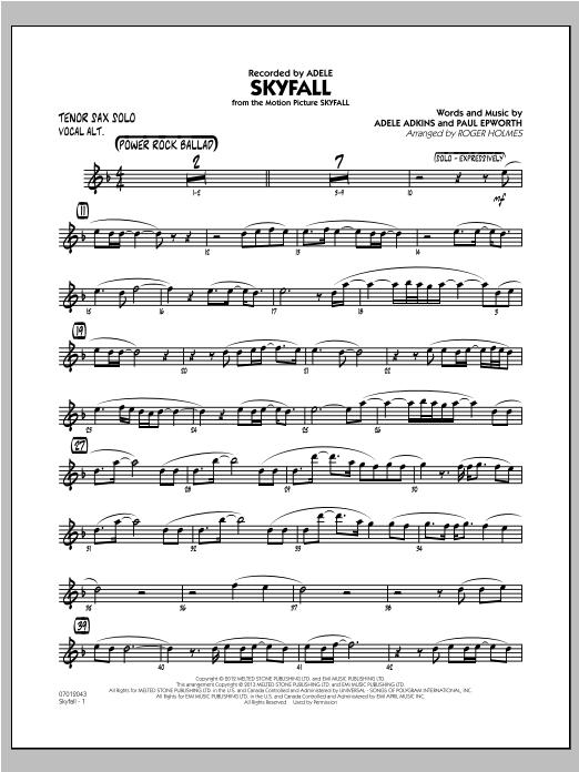 Skyfall - Tenor Sax Solo Sheet Music