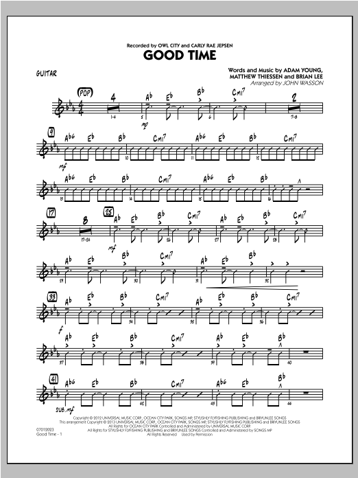 Good Time - Guitar Sheet Music