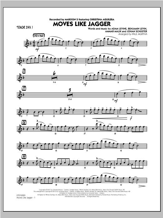 Moves Like Jagger - Tenor Sax 1 Sheet Music