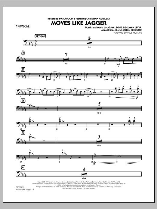 Moves Like Jagger - Trombone 1 Sheet Music