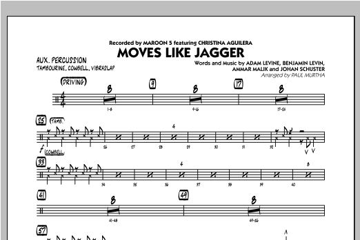 Moves Like Jagger - Aux Percussion Sheet Music