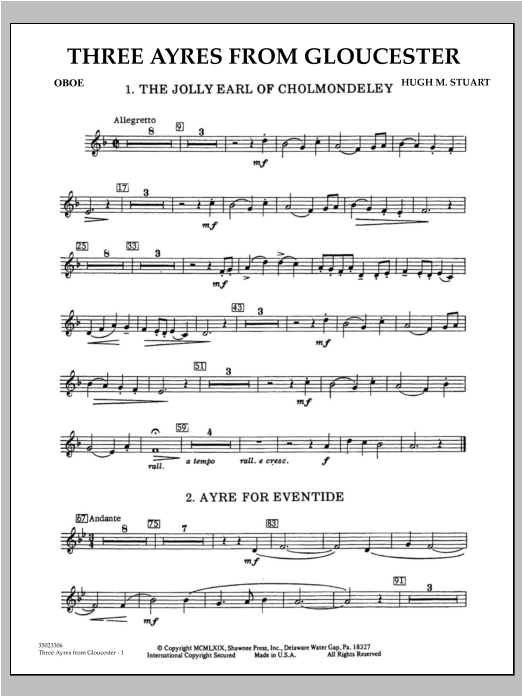 Three Ayres From Gloucester - Oboe Sheet Music